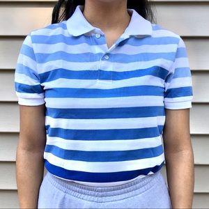 Blue Ombré-White Striped Polo Shirt